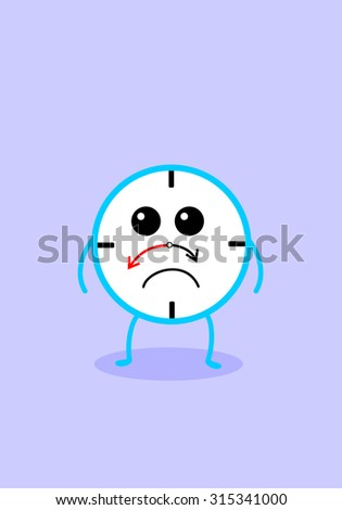 Sad clock cartoon character - stock vector