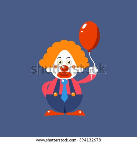 Sad Clown Holding Balloon Simplified Isolated Flat Vector Drawing In Cartoon Manner - stock vector