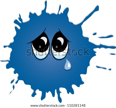 Sad crying blot with eyes. Vector - stock vector