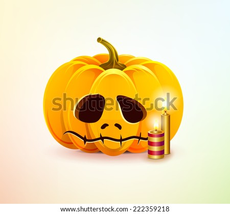 Sad cute pumpkin for Halloween with candles - stock vector