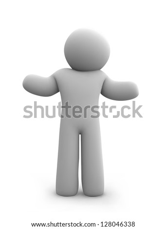 Sad 3d man sitting isolated on white background - stock vector