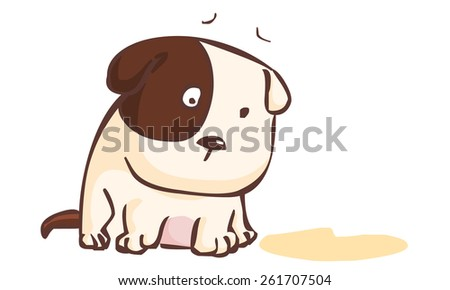 sad dog sitting on the ground illustration vector - stock vector