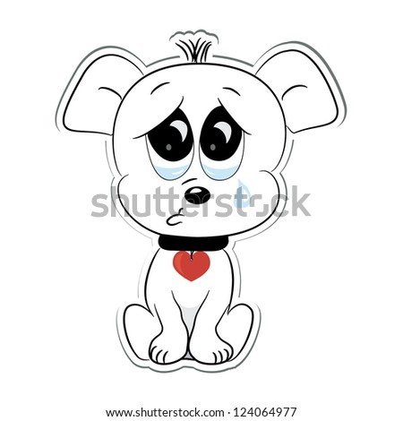 Sad dog. Sticker. Vector illustration