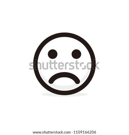 Sad Face Emoticon Icon Stock Vector 1109166206 Shutterstock