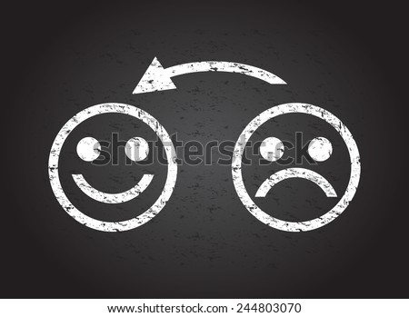 sad face to a happy face - stock vector