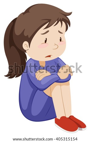 Sad girl sitting alone illustration - stock vector