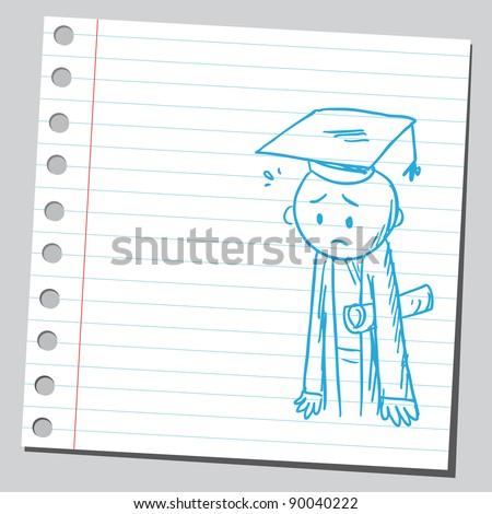 Sad graduate - stock vector