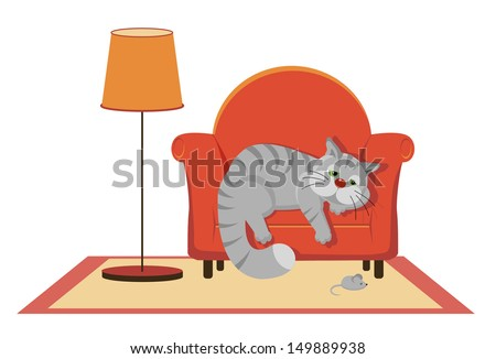 Sad gray cat lying on the couch - stock vector