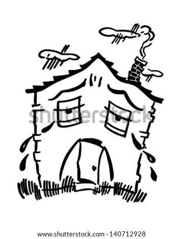 Sad House - Retro Clip Art Illustration - stock vector