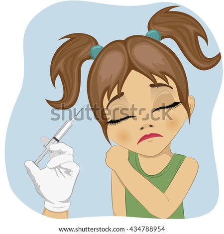 Sad little girl getting a vaccination - stock vector