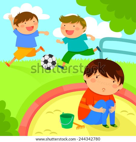 sad lonely boy looking at kids playing together - stock vector