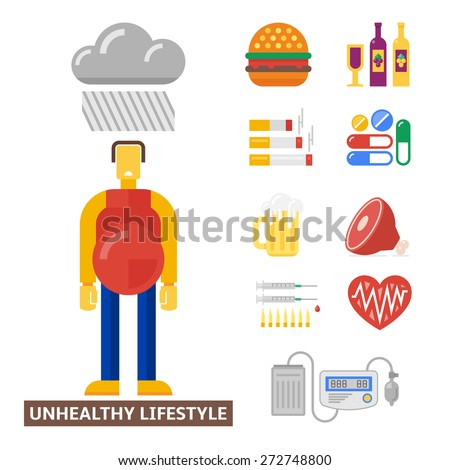 Sad man illustrates a unhealthy lifestyle. Plus some of bad habits and medical flat icons. - stock vector