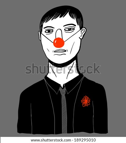 Sad man with clown nose - stock vector