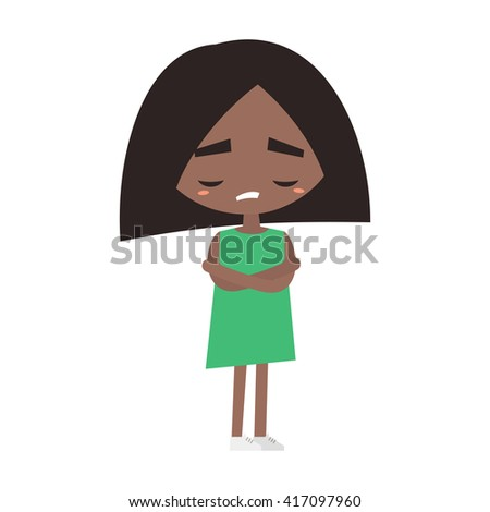 Sad offended black girl cartoon illustration, Vector flat image  - stock vector