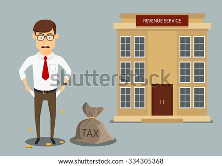 Sad penniless businessman showing empty pockets after paying taxes, for debts or bankruptcy themes design. Cartoon flat style - stock vector