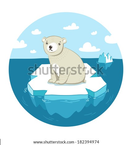 Sad polar bear sitting on ice floe - stock vector