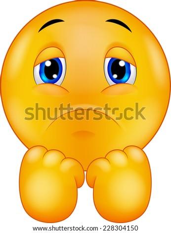 Sad smiley emoticon - stock vector
