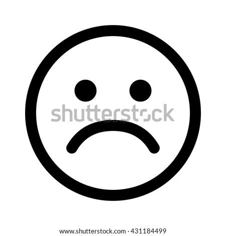 Sad Smiley Face Emoticon Line Art Stockvector Rechtenvrij