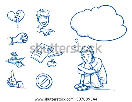 Sad teenage boy having problems, with thought bubble and icons. Hand drawn cartoon doodle vector illustration. - stock vector