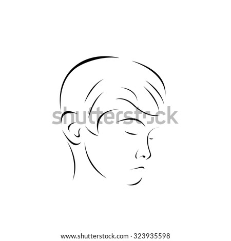Sad Teenager Boy: Young, Children Depression Concept. Isolated on White Background - stock vector