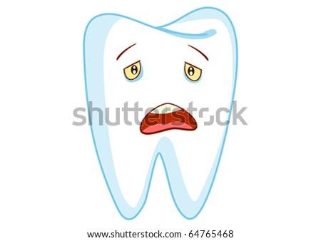 Sad Tooth Cartoon Character Illustration in Vector - stock vector