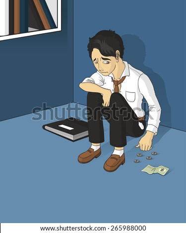 sad unemployed man sitting alone in the room - stock vector