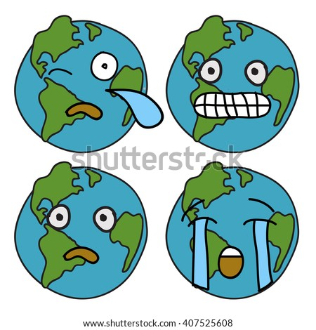 Sad Unhappy Earth Expressions (Doodle Vector Design Concept) - stock vector