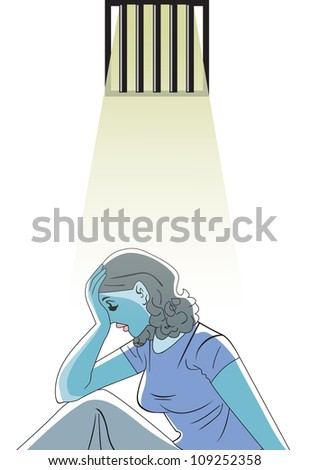 Sad woman in prison, vector illustration - stock vector