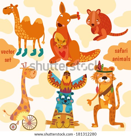 Safari animals:Quokka, tiger, camel, giraffe,  kangaroo in vector.  (All objects are isolated groups so you can move and separate them) - stock vector