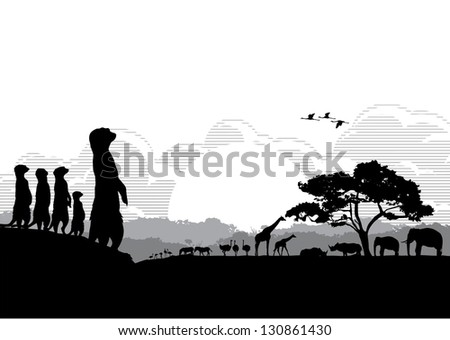Safari animals silhouette, vector - stock vector
