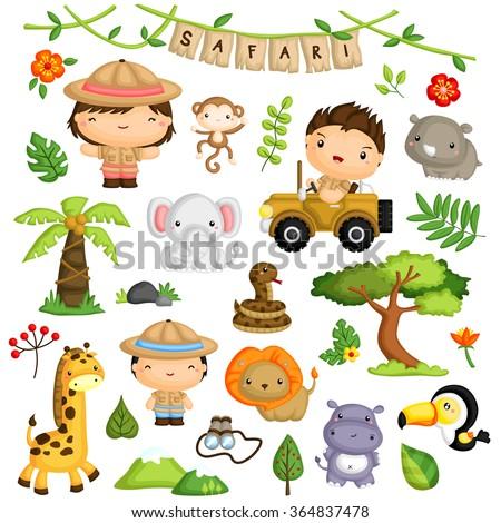 Safari Kids and Animal Vector Set - stock vector