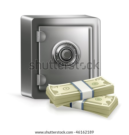 Safe and money, vector - stock vector