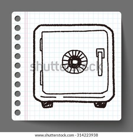 safe box doodle - stock vector