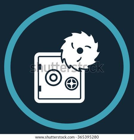 Safe Breaking vector icon. Style is bicolor flat circled symbol, blue and white colors, rounded angles, dark blue background. - stock vector