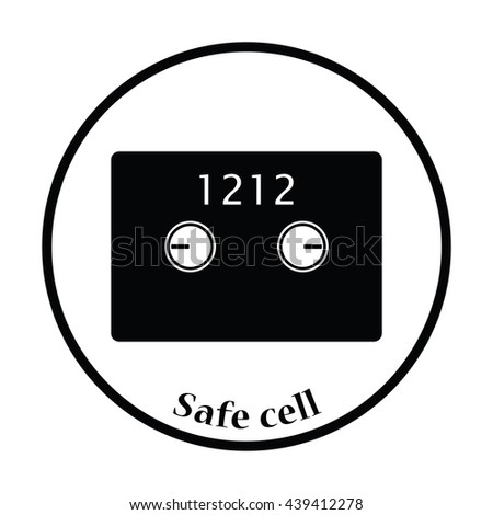 Safe cell icon. Thin circle design. Vector illustration.