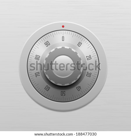 Safe combination lock wheel - stock vector