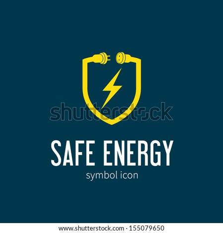 Safe energy vector symbol icon or Logo Template - stock vector