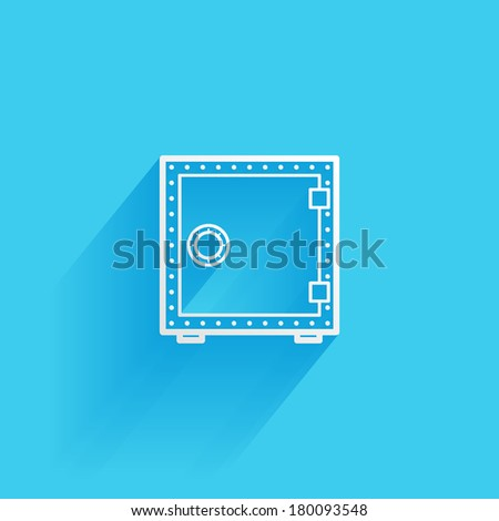 safe, flat icon isolated on a blue background for your design, vector illustration - stock vector