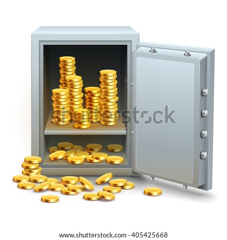 Safe full of gold coins money from open door vector illustration. Isolated white background. Golden business concept banking financial industry. Saving in place icon. Money in safe. - stock vector