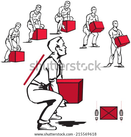 Safe handling of heavy items: men - stock vector
