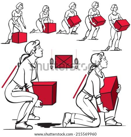 Safe handling of heavy items: women - stock vector