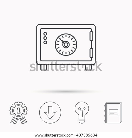 Safe icon. Money deposit sign. Combination lock symbol. Download arrow, lamp, learn book and award medal icons. - stock vector