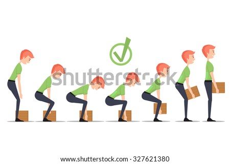 Safe lifting of heavy items. Lift correct, box weight, man carry, manually delivery, vector illustration - stock vector