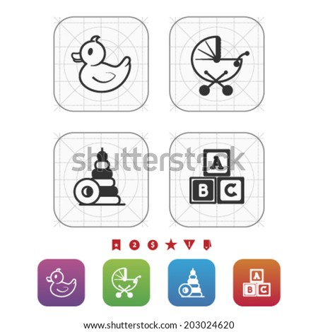 Safe playtime: Kids toys, pictured here from left to right, top to bottom -  Rubber duck, Baby stroller, Blocks, Letter blocks. - stock vector