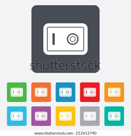 Safe sign icon. Deposit lock symbol. Protection for your documents in hotel. Rounded squares 11 buttons. Vector - stock vector