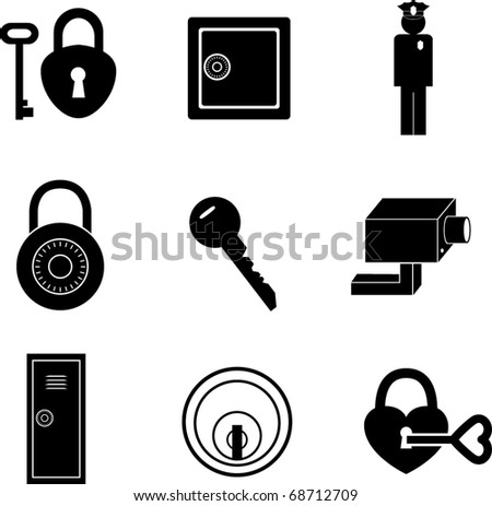 safety and security symbols mini set - stock vector