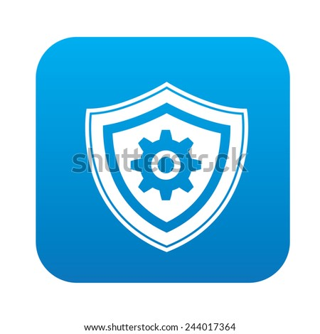 Safety badge icon on blue button, clean vector - stock vector