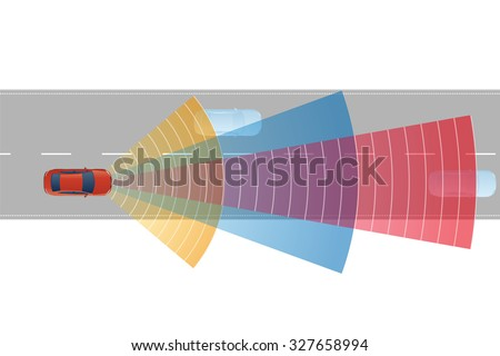safety car and various sensors, image illustration - stock vector