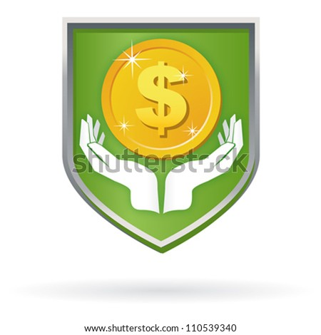 Safety Care label icon with hands and money - stock vector