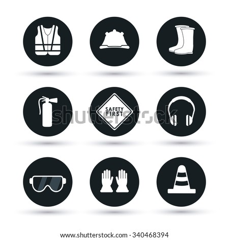 Safety concept about equipment icons design, vector illustration 10 eps graphic. - stock vector
